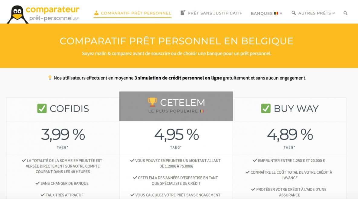 comparatif prêt personnel belgique